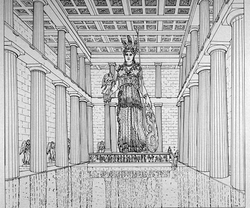 Parthenon: Reconstruction drawing of the interior of Parthenon and the cult statue of Athena Parthenos